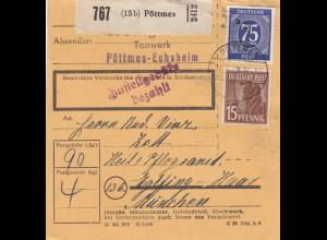 BiZone Paketkarte 1948: Pöttmes Tonwerk nach Eglfing, Heilanstalt
