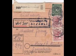 BiZone Paketkarte 1948: Breitenberg nach Haar b. München, Wertkarte
