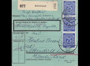 BiZone Paketkarte 1948: Mellrichstadt nach Ottendichl, besonderes Formular