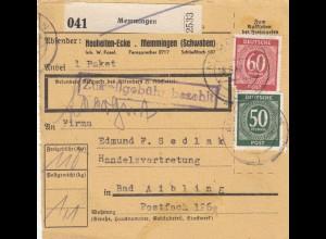 BiZone Paketkarte 1947: Memmingen, Neuheiten-Ecken, nach Bad Aibling, Selbstb.