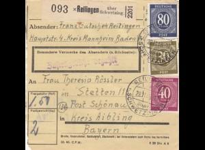 BiZone Paketkarte 1946: Reilingen Kreis Mannheim nach Schönau