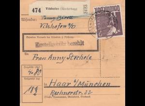 BiZone Paketkarte 1948: Vilshofen nach Haar bei München