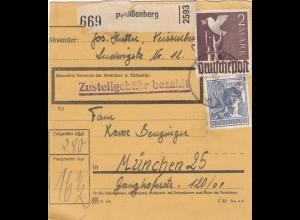 BiZone Paketkarte 1948: Peißenberg nach München