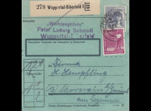 BiZone Paketkarte 1947: Wuppertal-Elberfeld nach Moosrain Gmund, bes. Formular