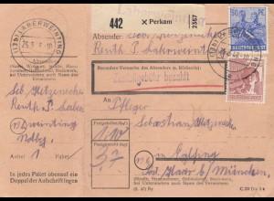 BiZone Paketkarte 1948: Perkam nach Eglfing Haar