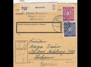 BiZone Paketkarte 1947: Mitterteich, Damenschneiderin, nach Bad Aibling