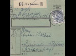 BiZone Paketkarte 1948: Memmingen nach Gmund, besonderes Formular