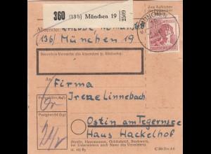 BiZone Paketkarte 1948: München 19 nach Ostin am Tegernsee, Haus Hackelhof