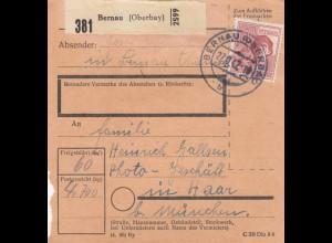 BiZone Paketkarte 1947: Bernau nach Haar, Photo-Geschäft