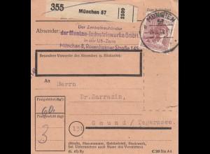BiZone Paketkarte 1948: München, Zentraltreuhänder Montan-Industrie nach Gmund