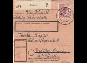 BiZone Paketkarte 1948: Olching nach Eglfing Haus 6, Heilanstalt