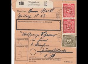 BiZone Paketkarte 1948: Wegscheid nach Haar b. München