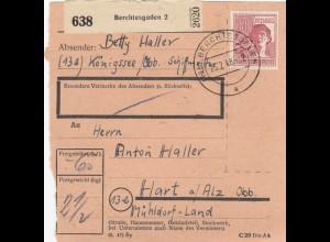 BiZone Paketkarte 1948: Berchtesgaden nach Hart, Mühldorf