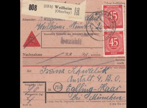 BiZone Paketkarte 1948: Weilheim Oberbay. nach Eglfing, Anstalt, Nachnahme