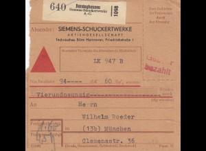BiZone Paketkarte: Barsinghausen, Selbstbucher, LK 947 B, ohne Stempel, Nachnah.