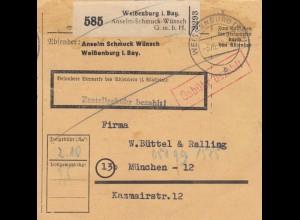 BiZone Paketkarte 1948: Weißenburg nach München, Selbstbucher