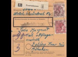 BiZone Paketkarte 1948: Frontenhausen nach Eglfing, Heilanstalt