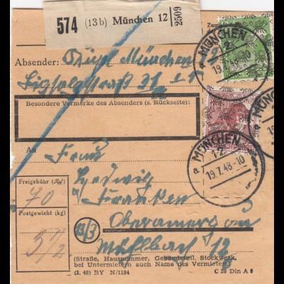 BiZone Paketkarte 1948: München nach Oberammergau