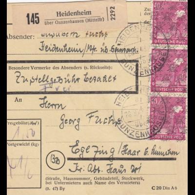 BiZone Paketkarte 1948: Heidenheim über Gunzenhausen nach Eglfing