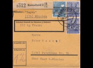 BiZone Paketkarte 1948: Remscheid nach Putzbrunn, 1 1/2 kg franko