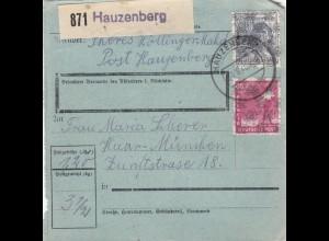 BiZone Paketkarte 1948: Hauzenberg nach Haar, besonderes Formular