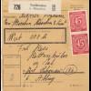 BiZone Paketkarte 1946: Taufkirchen bei München nach Schönau, Wertkarte
