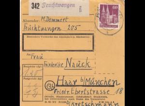 BiZone Paketkarte 1948: Feuchtwangen nach Haar