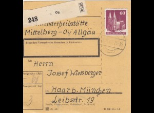 BiZone Paketkarte 1948: Mittelberg Allgäu nach Haar