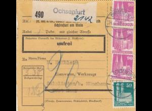 BiZone Paketkarte 1948: Ochsenfurt n. Solalinden, Selbstb., unfrei, Nachgebühr