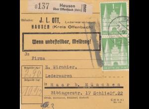 BiZone Paketkarte 1948: Hausen über Offenbach nach Haar, Selbstbucher, Lederw.