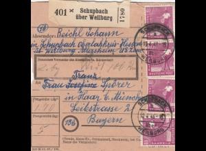 BiZone Paketkarte 1948: Schupach Oberlahnkreis nach Haar, Wertkarte