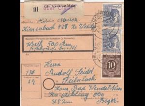 BiZone Paketkarte 1947: Kinzenbach nach Feilnbach, Haus Wendelstein, Wertkarte