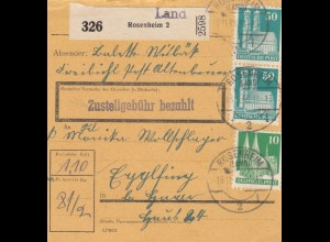BiZone Paketkarte 1948: Rosenheim Altenbrunn nach Eglfing