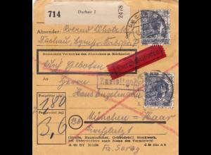 BiZone Paketkarte 1948: Dachau nach Haar, Haus Engelmann, durch Eilboten