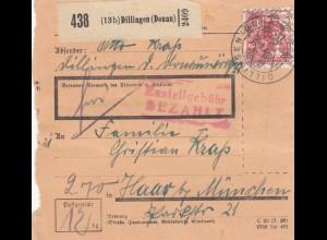 BiZone Paketkarte 1948: Dillingen nach Haar bei München