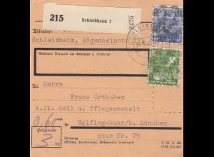 BiZone Paketkarte 1948: Schleißheim nach Eglfing Haar, Heilnstalt