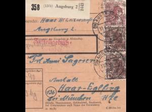 BiZone Paketkarte 1948: Augsburg nach Haar, Anstalt