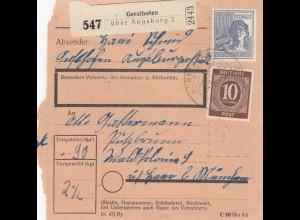 BiZone Paketkarte 1948: Gersthofen nach Putzbrunn über Haar