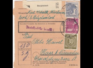 BiZone Paketkarte 1947: Burghaslach nach Haar b. München