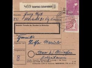 BiZone Paketkarte 1948: Allstedt Osterholz-Scharmbeck nach Haar, Polizeikaserne