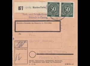 BiZone Paketkarte 1948: Zeitschriftenverlag München-Pasing nach Haar