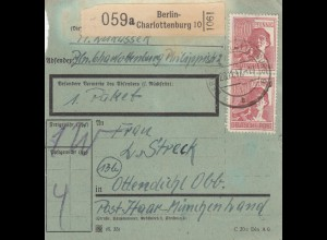 BiZone Paketkarte 1947: Berlin-Charlottenburg nach Ottendichl, bes. Formular