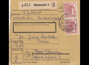 BiZone Paketkarte 1948: Wiesbaden nach Haar bei München