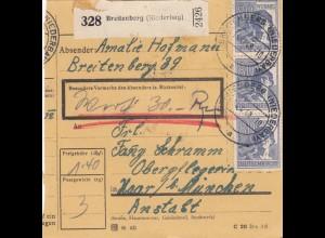 BiZone Paketkarte 1948: Breitenberg nach Haar, Operpflegerin, Wertkarte