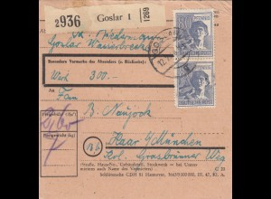 BiZone Paketkarte 1948: Goslar nach Haar, Wertkarte