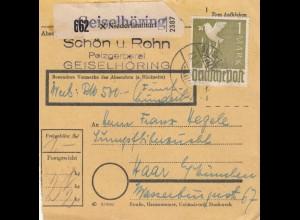 BiZone Paketkarte 1948: Pelzgerberei Niederlindhart nach Haar, Wertkarte 500 RM