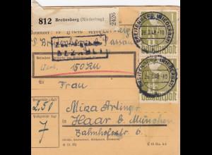 BiZone Paketkarte 1948: Breitenberg nach Haar, Wertkarte 150 RM