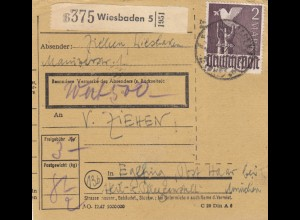 BiZone Paketkarte 1948: Wiesbaden nach Eglfing, Anstalt, Wertkarte