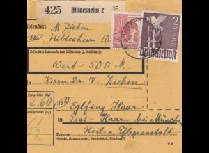 BiZone Paketkarte 1948: Hildesheim nach Eglfing, Heilanstalt, Wertkarte