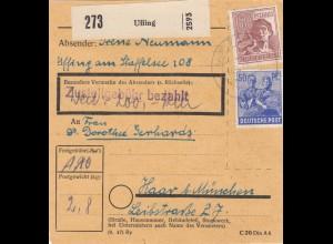 BiZone Paketkarte 1948: Uffing nach Haar, Wertkarte 200 RM